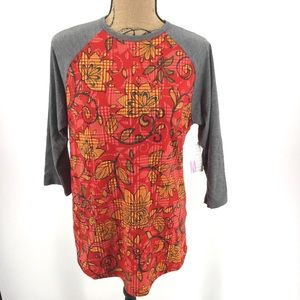 NEW Lularoe Randy T M Floral Red Gray Yellow